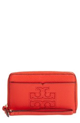 Tory Burch Women's Harper Leather Iphone 6 6S Wristlet Red Samba