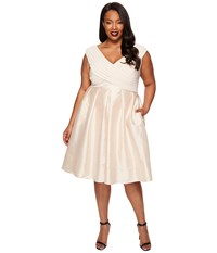 Adrianna Papell Plus Size Fit And Flare Taffeta Skirt And Draped Matte Jersey Bodice Parchment Women's Skirt Beige