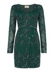 Lace And Beads Milan V Neck Embellished Bodycon Dress Bottle Green