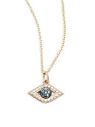 Kc Designs Blue White Diamond And 14K Yellow Gold Necklace