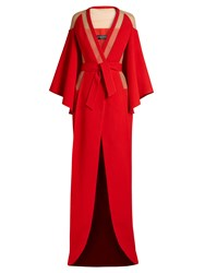 Balmain V Neck Tie Waist Panelled Crepe Gown Red