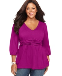 Ny Collection Plus Size Three Quarter Sleeve Ruched Empire Waist Top Purple