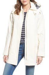Vince Camuto Women's Hooded Fly Front Stadium Jacket Ivory