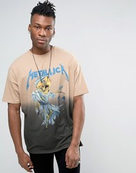 Asos Metallica Super Oversized Band T Shirt With Bleach Dip Dye Gray