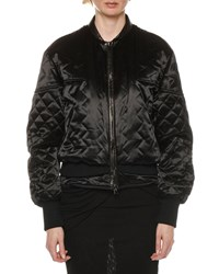 Tom Ford Leather Trim Glossy Quilted Biker Jacket Black