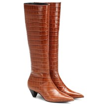 Mercedes Castillo Donique Croc Effect Leather Boots Brown