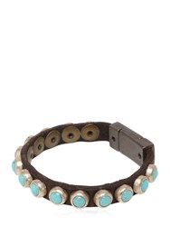 Campomaggi Turquoise Studded Leather Bracelet