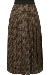 Fendi Pleated Silk Jacquard Midi Skirt Brown