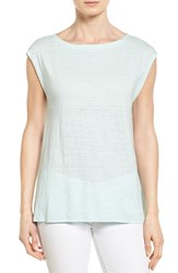 Women's Eileen Fisher Organic Linen Bateau Neck Cap Sleeve Top Flower
