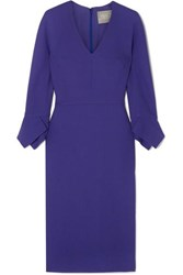 Lela Rose Wool Blend Dress Dark Purple