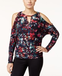 Thalia Sodi Printed Cold Shoulder Top Only At Macy's Deep Black Combo