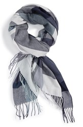 Nordstrom Women's Academy Check Wool And Cashmere Scarf Navy Combo