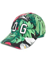 Dolce And Gabbana Palm Print Baseball Cap Green