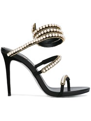 Rene Caovilla Embellished Strappy Sandals Women Calf Leather Leather Lurex Rhinestone 39 Black