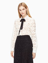 Kate Spade Bow Tie Lace Shirt French Cream