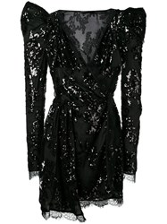 Amen Sequin Embroidered Dress Black