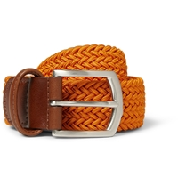 Anderson's Orange 3.5Cm Leather Trimmed Elasticated Woven Belt