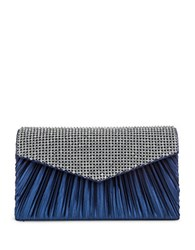 Jessica Mcclintock Lily Satin Pleated Clutch Navy Blue