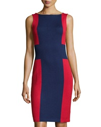 St. John Colorblock Knit Sheath Dress Ink Ruby