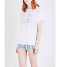 Wildfox Couture Runner Up Cotton Blend T Shirt Clean White