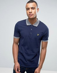 Lyle And Scott Pique Polo Contrast Rib Regular Fit Eagle Logo In Navy Navy
