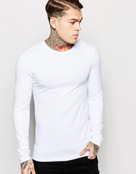Asos Extreme Muscle Fit Long Sleeve T Shirt With Crew Neck And Stretch White