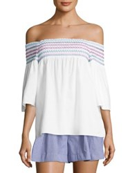 Parker Yasmin Embroidered Off The Shoulder Blouse White