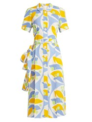 Miu Miu Floral Print Crepe Dress Blue Print