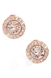 Givenchy Women's Crystal Button Stud Earrings Silk Rose Gold