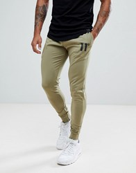 11 Degrees Skinny Track Joggers In Khaki Green