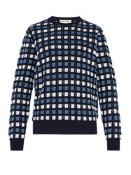 Marni Textured Crew Neck Knitted Cotton Sweater Blue