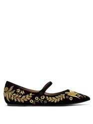 Tabitha Simmons Hermione Floral Embroidered Velvet Mary Jane Flats Black Gold