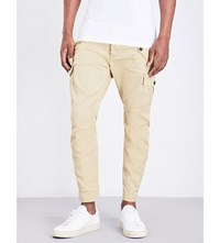 Dsquared2 Regular Fit Tapered Stretch Cotton Cargo Trousers Beige