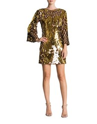 Dress The Population Lauren Sequined Shift Chocolate Gold