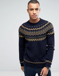 Esprit Crew Neck Knit With Fairisle Detail Navy 400