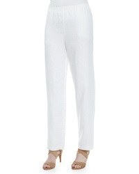 Go Silk Straight Leg Linen Pants White Women's
