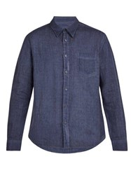 120 Lino Single Cuff Linen Shirt Dark Navy