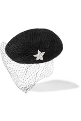 Jennifer Behr Embellished Veiled Mohair Blend Beret Black
