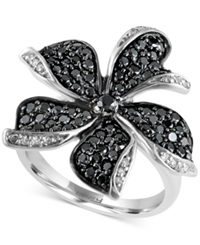 Effy Collection Effy Black And White Diamond Flower Ring 1 1 6 Ct. T.W. In 14K White Gold