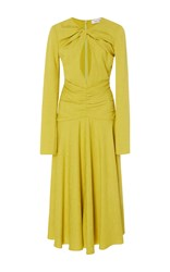 Prabal Gurung Long Sleeve Keyhole Midi Dress Yellow