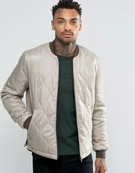 Asos Bomber Jacket In Quilted Ripstop In Light Grey Light Grey