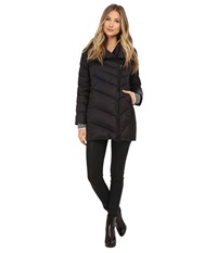 Sam Edelman Pryce Asymmetrical High Denist Down Jacket Black Women's Coat