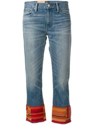 Polo Ralph Lauren Cropped Embroidered Jeans Blue