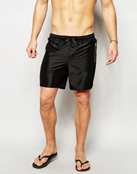 Asos Mid Length Swim Shorts In Black With Gold Zip Detail Black