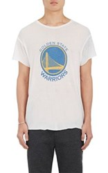 The Elder Statesman X Nba Men's Golden State Warriors Logo Cashmere Silk T Shirt White