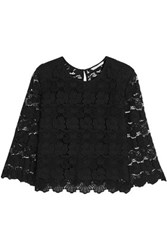 Rebecca Minkoff Rayna Cotton Guipure Lace Top Black