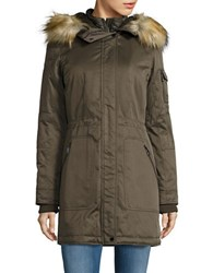 1 Madison Faux Fur And Faux Sherpa Trimmed Parka Olive