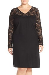 Junarose 'Valdis' Lace Yoke Woven Shift Dress Plus Size Black