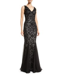 David Meister Sleeveless Floral Beaded Godet Gown Black Silver
