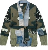 Alanui Greg Lauren Panelled Denim And Cashmere Cardigan Green